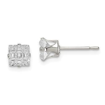 925 Sterling Silver Snap indstilling Post Øreringe 5mm Square CZ Cubic Zirconia simuleret Diamond 4 Prong Stud Øreringe Jewe