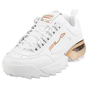 Fila Disruptor 2a Chrome Womens Fashion Trainers in White Rose Gold