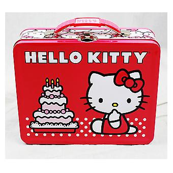 Lunch Box - Hello Kitty - Square Lunch Tin Birthday Cake Metal Case 697657c