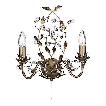 2 velas ligeras de oro marrón claro con cristales diseño de hojas florales, E14