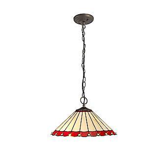 Éclairage Luminosa - 3 Light Downlighter Plafond Pendentif E27 Avec 40cm Tiffany Shade, Rouge, Cristal, Laiton Antique Vieilli