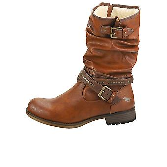 Mustang Winter Ankle Boots Womens Biker Boots in Cognac