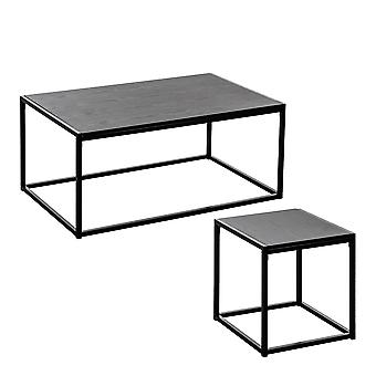 Industrial Coffee Table & Side Table - Black Wood / Steel Frame - Set of 2