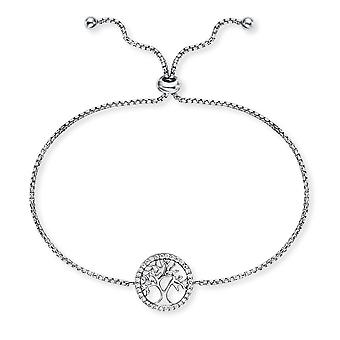 Angel Whisperer Tree Of Life Zirconia Sterling Silver Zirconia Rhodium Plated Bracelet ERB-LILTREE-ZI