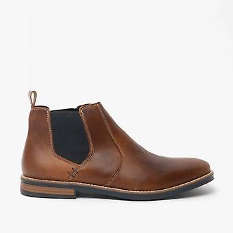 Rieker 33554-25 Mens Leather Wide Fit Chelsea Boots Brown