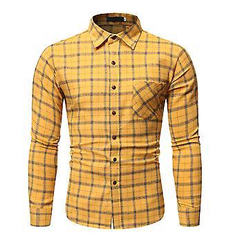 YANGFAN Mens Plaid Lapel Long Sleeve Shirt