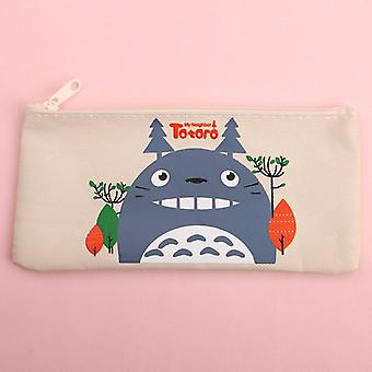 Kawaii Totoro Canvas Pencil Case, Creative Oxford Cloth Zipper,  Student Pencil