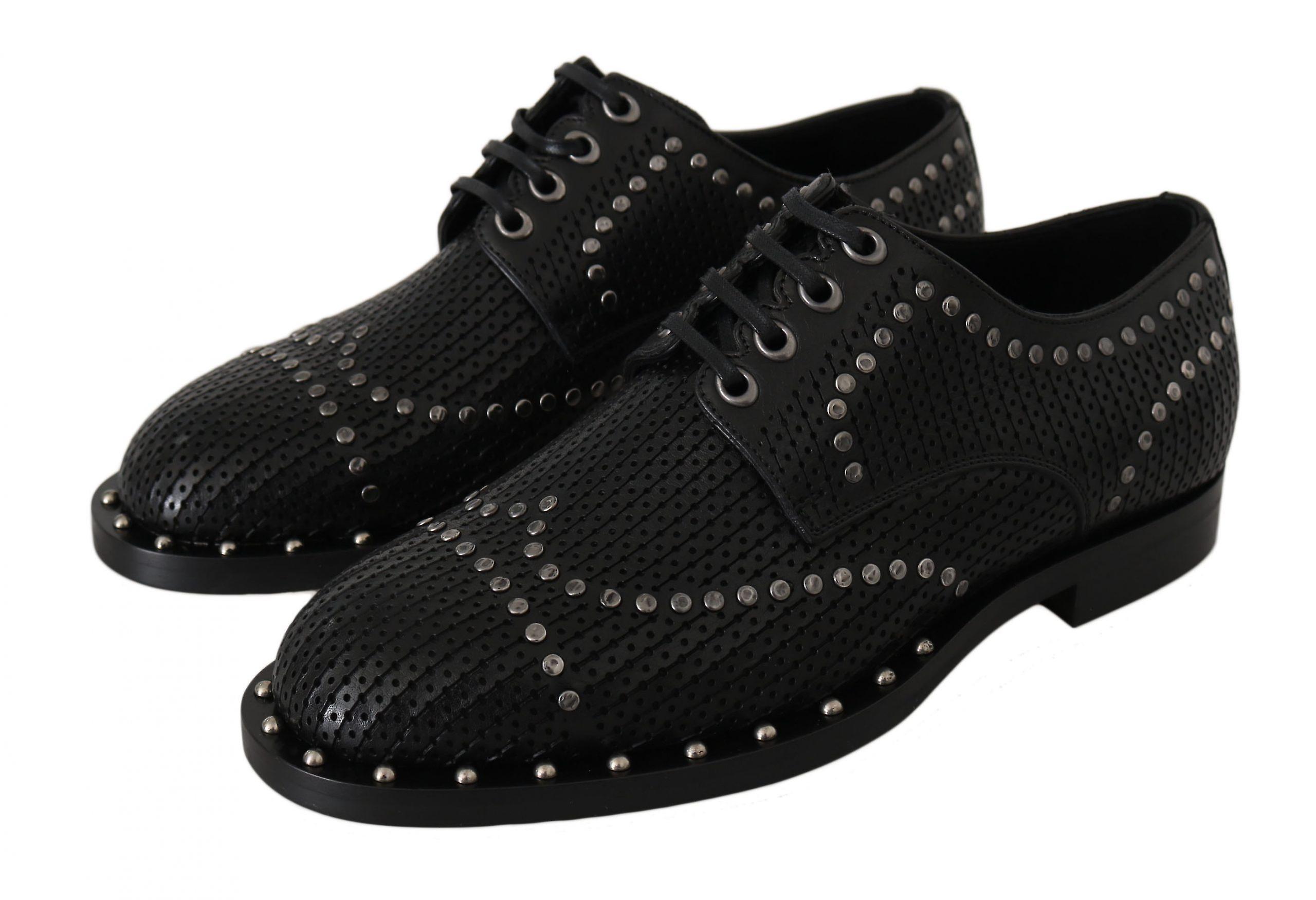 Dolce & Gabbana Black Leather Studded Derby Dress  Shoes -- MV23658864
