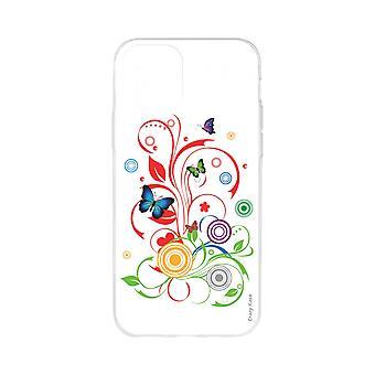 Rumpf für iPhone 11 Pro Max weiche Muster Schmetterlinge und Kreise auf weißem Hintergrund