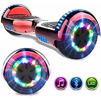 Right Choice Hoverboard Self Balanced Electric Scooter - eingebautin Bluetooth Lautsprecher - LED Wheel-Chrome rot