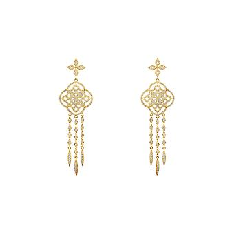 Yellow Celtic Knot Dream Catcher CZ Bridal Statement Jewellery Gold Earrings