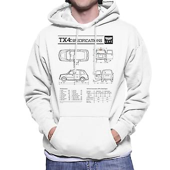 London Taxi Company TX4 Specifications Blueprint Men's Hooded Sweatshirt