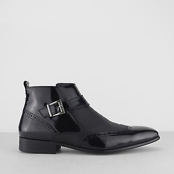 Blakeseys Brosnan Mens Patent/leather Zip Ankle Boots Black