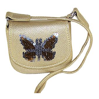 Girls gold sparkly handbag with sequin butterfly