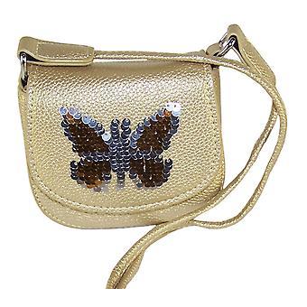 Payet kelebek ile Kızlar altın ışıltılı çanta