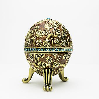 Brown Faberge Egg With Leaves-trinket Box