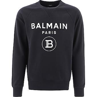 Balmain Vh1jq005b0270pa Mænd's Sort Bomuld Sweatshirt