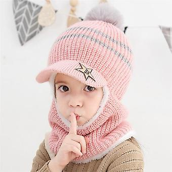 Knit Short Plush Hooded Scarf Kids Hat And Scarf, Child Winter Warm Protection
