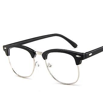 Classic Metal Frame Glasses, Women Retro Anti Blue Light, Men Round Eyeglasses