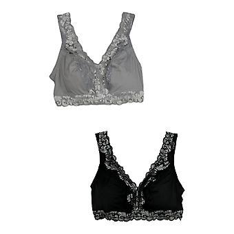 Breezies M Soft Support Bra W/ Contrast Lace Set of 2 Beige/ Black A373660