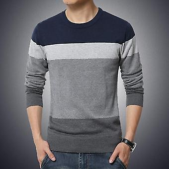 Autumn Casual Men's Sweater, O-neck, Striped Slim Fit Knittwear, Pullover