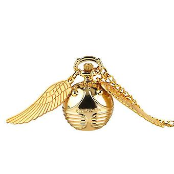 Retro Snitch Ball Shaped Potter Quartz Pocket Watch Fashion Sweater Angel Wings