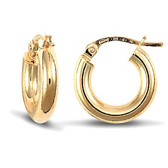 Jewelco London Ladies 9ct Yellow Gold Polished 3mm Hoop Brincos 14mm