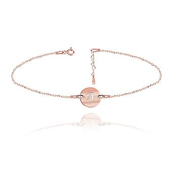 Ah! Jewellery 18K Rose Gold Vermeil Over Sterling Silver Engraved Initial Bracelet, 3cm Heart Extension Included