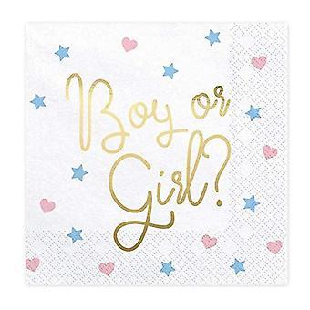 性別はパーティーナプキン|を明らかにするユニセックス男の子の女の子ピンクブルーベビーシャワーx20