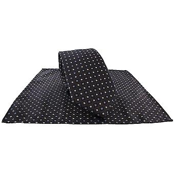 Michelsons av London Diamond Grid Tie og Pocket Square Sett - Brun