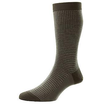 Pantherella Highbury Houndstooth Merino Wool Socks - Graphite Grey