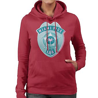 Miami Vice For Life Police Badge Women's Hooded Sweatshirt