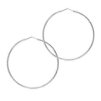 The Hoop Station Roma Diamond-Cut Silver 55 Mm Hoop Earrings H09S