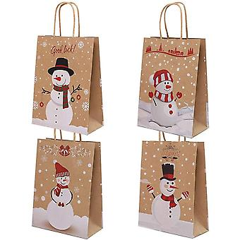 Kraft Paper Bags, Snowman, Christmas Bag With Handle, Cookie Packaging, Wedding