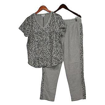 Splendid Women's Top Short-Sleeve Pocket Tee & Jogger Set Gray A353802
