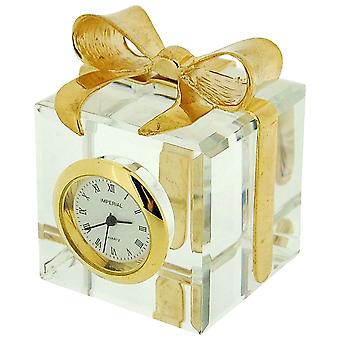 GTP Ladies Miniature Gold Plated Crystal Gift Box & Bow Novelty Collectors Clock IMP507a