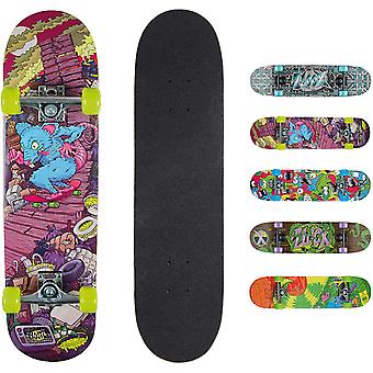 Xootz Kids Complete Beginners Double Kick Trick Skateboard Maple Deck - 31 x 8 Inches Rat Ramp