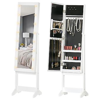 HOMCOM Free Standing LED Mirrored Jewelry Cabinet Armoire Floor Organiser W/ 3 Angle Adjustable For Rings Earrings Bracelets Cosmetics White