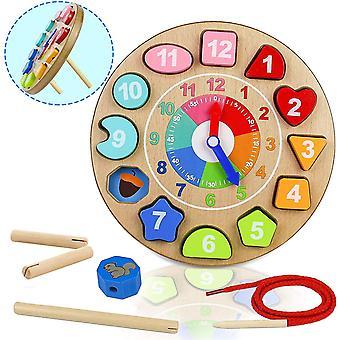 Holzspielzeug Uhr 4 IN 1 Lernbrett Kinder Montessori Lernspielzeug Zeit mit Zeichenfolge Zahl
