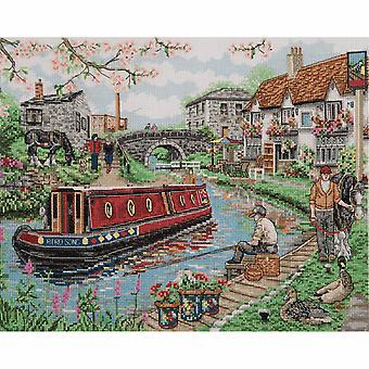 Ankare räknade cross stitch kit: Country Canal