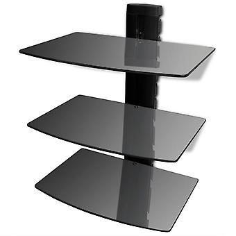 vidaXL جدار الجرف الزجاج ل DVD 3 مستويات الأسود