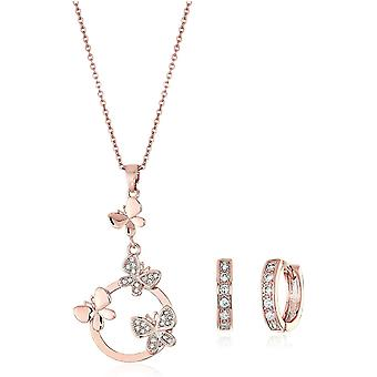 Schmetterlinge Schmuck-Set Wei Zirkonia Kristalle Halskette Anhnger 45 cm Huggie Ohrringe 18 kt Rose