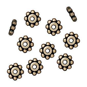 TierraCast Messing Oxid Finish Zinn Daisy Abstandhalter Perlen 6mm (10)