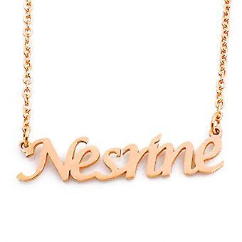 Kigu NESRINE - Justerbart halsband med anpassat namn, i guldpläterad förpackning 18 kt