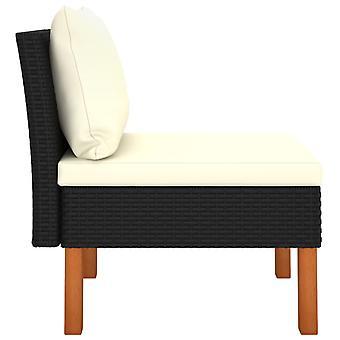 vidaXL Medium-sofa poly rotan en eucalyptus massief hout