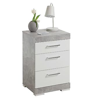 FMD Nachttisch mit 3 Schubladen Beton grau und glänzend weiß
