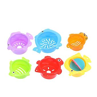 Assorted color 6pcs sea animal baby bath toys stacking cup bathtime fun toys for toddlers kids dt3614