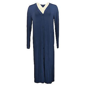 Cuddl Duds Dress Softwear Stretch Maxi Button Vest Voor Vest Blauw A310286