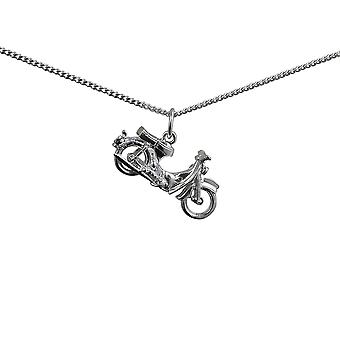 Silver 25x14mm Honda Motorbike Pendant with a curb Chain 24 inches