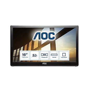 AOC 59 シリーズ I1659FWUX コンピュータ モニタ 39.6 cm (15.6 インチ) 1920 x 1080 ピクセル フル HD LCD ブラック